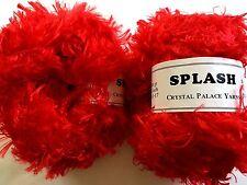 """LOT of 2 Crystal Palace Splash #3390 """"Lacquer Red"""" Feather Boa Eyelash Yarn"""