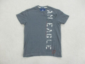 American Eagle Shirt Adult Small Gray White Spell Out Cotton Preppy Mens A88
