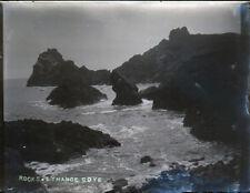 """Antique Vintage Glass Negative """"Rocks Kyance Cove"""" Late 1800s 10.5cm x 8cm"""