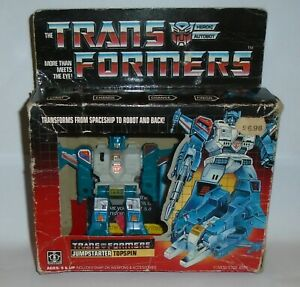 Vintage Transformers G1 Topspin Complete  Box Catalogue Tech Hasbro 1985