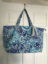 LILLY PULITZER BEACH/SHOPPER ZIP TOTE BAG WITH TASSLES MULTI BLUE NEW