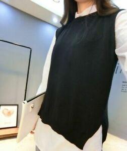 Lady Pullover Tank Tops Vest Gilet Round Neck Sleeveless Back Split Knit Sweater
