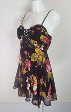 NEW LOOK Black Floral sheer chiffon Mini strappy corset bralet skater dress 10