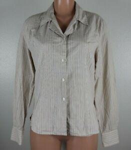 Pendleton Women's Size 12 Orange Brown Shirt Striped Long Sleeve Button Front