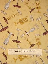 "Wine Vineyard Corkscrew Toss You Had Me At Merlot  Wilmington Cotton Fabric~25"""