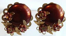 Round Clip Back Earrings So pretty Vintage Large Dark Copper Flower Wrapped