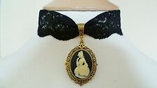 Black Lace Victorian Lady Cameo Choker Necklace Gothic Pendant Medieval Pagan