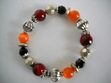 BEAD BRACELET, STRETCH, COLORFUL, SILVER TONE