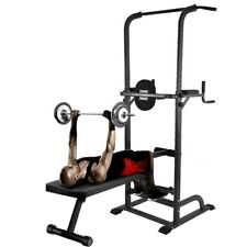 Home Gym Power Tower Workout Dip Station W/ Sit up Bench Pull Up Bar Dip Station