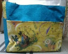 gemini the twins zodiac astrology sign xl large purse/project bag handmade