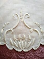 "Elegant Art Nouveau Puffy Water Lily Design Embroidered Linen Tablecloth 33"" Rd"