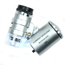 Mini Jeweler 60X Pocket Microscope Jewelry Magnifier Loupe Glass LED Light