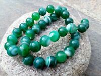 10 mm Genuine Natural Round Green Onyx Agate Beads - Grade A - 1 mm Hole
