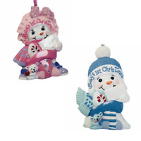 Kurt Adler Baby's 1st Christmas Snow Boy Girl Ornament Resin Personalize New