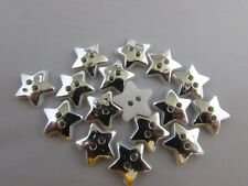 12mm Plastic Silver Star Shaped Buttons in Packs 5, 10 or 20