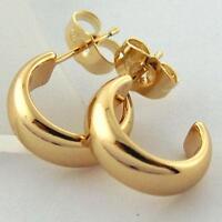 EARRINGS STUD HOOP GENUINE REAL 18K YELLOW G/F GOLD SOLID LADIES CLASSIC DESIGN