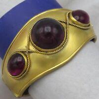 Antique Victorian Etruscan Revival Garnet Paste Domed Wide Gold Gilt Bracelet