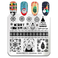 BORN PRETTY Nail Stamping Plate Square Nail Art Stamping Template Christmas S003