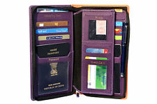 kouple passport holder for 2 passport,currency holder,13 card holder,zipper,purp