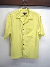 vtg Tommy Bahama Hawaiian Shirt Birdie Watching Golf yellow texture 100% silk L