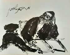 MOSHE BERNSTEIN (1920-2006), Ink on Paper, Discussing The Bible, Signed