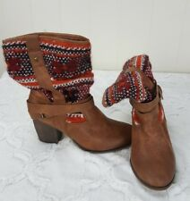 Candies Boots Multi Color Tribal Sweater Cognac Brown Heel Womens Size 7 M