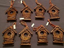 8 BIRDHOUSE ORNAMENTS wooden rustic bell grape vine Christmas RUSTIC AGED LOOK