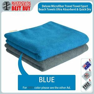 Deluxe Microfiber Travel Towel Sport Beach Towels Ultra Absorbent Quick Dry Blue