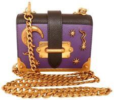 PRADA Micro Cahier Notebook Astrology Violet Black Saffiano Clutch Crossbody Bag