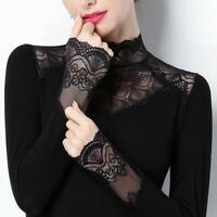 Womens Ladies High Neck Fleece Lined Mock Neck Shirt Warm Slim Blouse Tops Plus