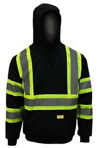High Visibility Hooded Sweatshirt Class 3 Safety Hooded pullover, Knit lining