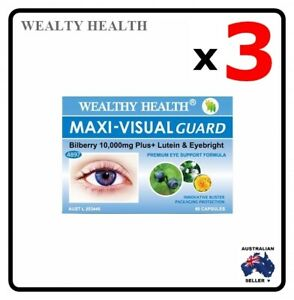 3 x WEALTHY HEALTH Maxi-Visual Guard Lutein Bilberry 10000 Plus 30 Capsuels