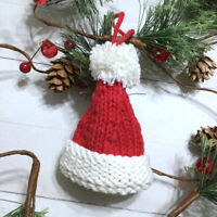 "Knit Santa Hat Christmas Ornament Handmade USA 3.5"" Holiday Winter Red"