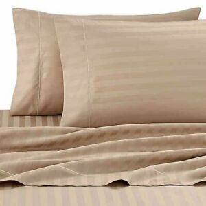 Wamsutta Damask Stripe 500-Thread-Count PimaCott Twin Sheet Set in Taupe, NEW