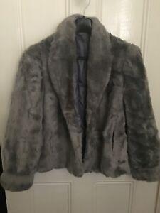 Vintage Grey Faux Fur Jacket by Otex Melbourne Size 12