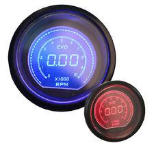 """2"""" 52mm RPM Tachometer Blue/Red Led Gauge RPM Tacho Digital Meter Tint Lens 12V"""