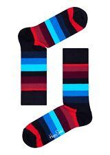 Happy Socks Red Blue Black Striped Pattern Size 4 - 7 UK Ladies Unisex Sock Gift