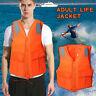 Adults Life Jacket Aid Vest Kayak Ski Buoyancy Fishing Boat Watersport Orange