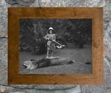 """Fascinating... Boy Shoots Lion ... Antique 8"""" x12 """" Photo Print"""