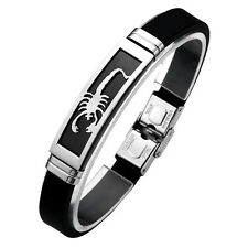 Stainless Steel Mens Biker Bracelet Scorpion Rubber Bangle Cuff Black Wristband