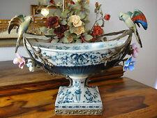 Luxus Prunkschale Jugendstil Schale Porzellan Bronze Zierschale Edel Antik Vögel