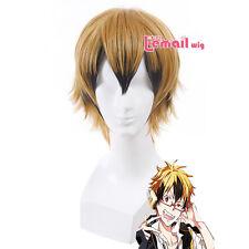 SERVAMP HYDE Vampire Short Straight Mix Black Golden Fluffy Hair Cosplay Wig