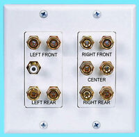 ULTRA GOLD 5.1 Surround Sound Wall Plate Home Theater Audio RCA Plug Jack 2 Gang