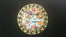 Gold and Silver Pendant/Pin In Ancient Mayan Inlay Design