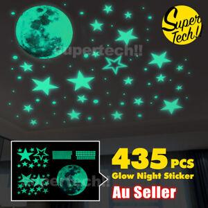 435 Wall Stickers Luminous Stars Moon Planet Glow In The Dark Nursery Kids Room