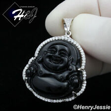MEN WOMEN 925 STERLING SILVER ICY DIAMOND BLING BLACK ONYX BUDDHA PENDANT*SP236