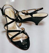 a3296cf84fa PRADA Wedge Heel Ankle Strappy Sandal Patent Leather Black 38