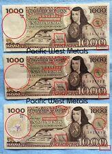 Lot of 3 Mexico Banknote 1000 Pesos Paper Money - Mexican bills Mil BDM PLS READ