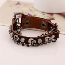 Punk Unisex Men Women Vintage Cuff Genuine Leather Skull Head Bracelet Wristband
