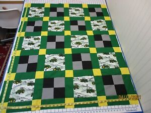 Handmade Unfinished Quilt Top John Deere & Squares  Approx. 38x47(308A)